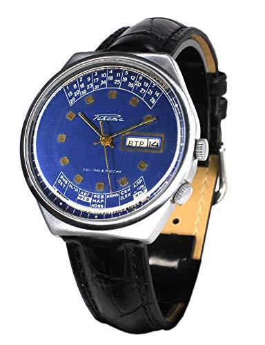 Reloj original Raketa de pulsera, producción soviética, calendario perpetuo, color azul, días de la semana y meses en cerezo (501)