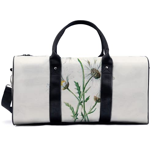 Bolsa de deporte de gimnasio bolsa de deporte potable bolsa de lona vintage margaritas viejas flores salvajes bolso de yoga bolsa de hombro bolsa de viaje bolsa de gran capacidad para hombres mujeres