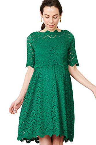 Sweet Mommy Maternity and Nursing Lace Formal Baby Shower Dress, Green (Lace Skirt), M Size