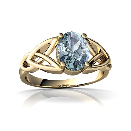 14kt Yellow Gold Aquamarine 8x6mm Oval Celtic Trinity Knot Ring - Size 6.5