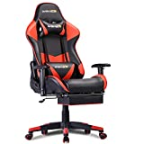 Gaming Chair Office Chair Ergonomic Racing Computer Chair High-Back PU Leather with Headrest, Lumbar Support and Retractable Footrest (3-Red)
