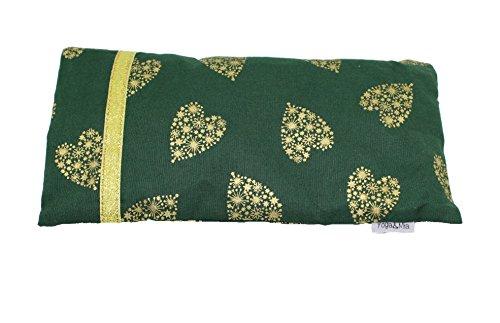 Yoga & Mia Golden Green Hearts Scented Lavender Eye Pillow Organic Cotton Meditation...