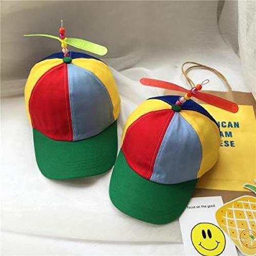 mlpnko Wilde Kinder Hut Propeller Bambusstange Hut Jungen und Mädchen Mützen Visier Eltern-Kind-Baseballmütze Farbe - grün Kindermodelle