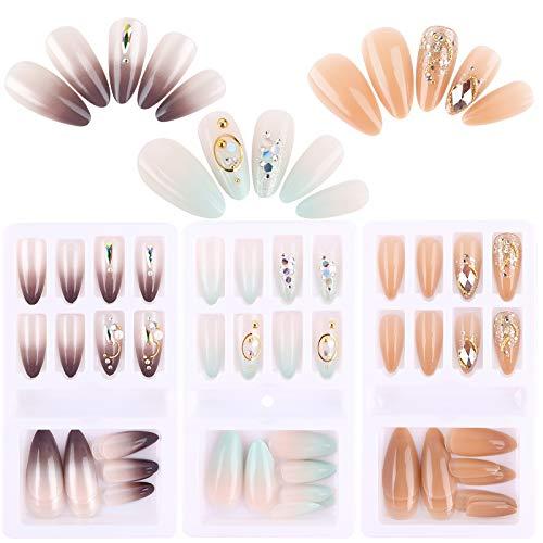 FLOFIA 72 Stk Falsche Nägel zum Aufkleben Künstliche Fingernägel Selbstklebend Kunstnägel Künstliche Falsche Nail Tips Fake Nail zum Aufkleben für Damen Mädchen mit Klebepads DIY Nagelspitzen