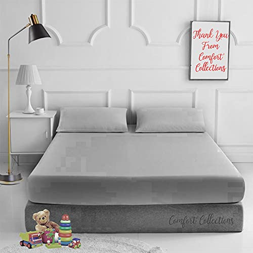 Comfort Collections Fitted Bed Sheet With FREE MATCHING 2 X PILLOW CASES Poly Cotton Percale Easy Care Plain Dyed Bed Sheet Silver Double