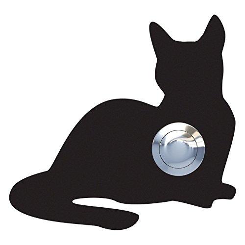 Klingeltaster, Design Klingel, Türklingel Edelstahl pulverbeschichtet Katze,Kitty'' schwarz - Bravios