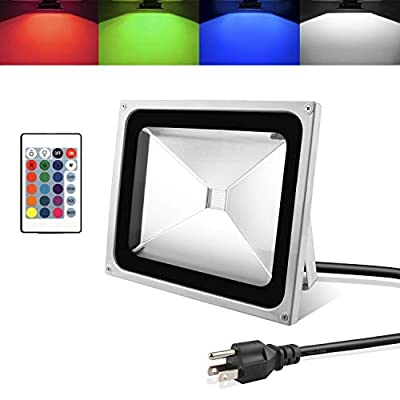 RC Waterproof RGB LED Flood Light with 24Key IR Remote and US 3-Plug