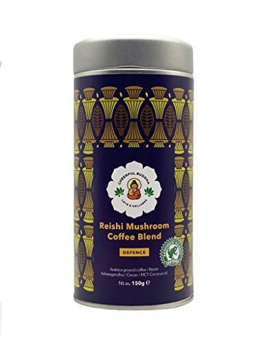 Cheerful Buddha Reishi Pilz-Kaffeemischung - 100% Natürlicher Premium-Pilzkaffee Ohne Konservierungsstoffe - RFA-Zertifizierter Gemahlener Kaffee Ohne GVO-Geschmack - Veganer Adaptogener Pilzkaffee -