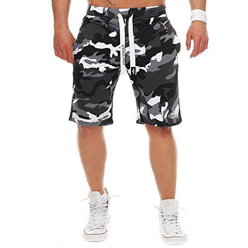Finchman 81J2 Herren Cotton Sweat Short Kurze Hose Bermuda Camo Grau M