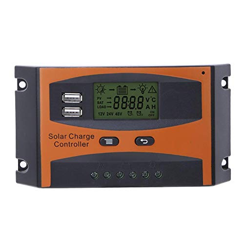 Carregador de bateria de painel solar com saída USB dupla, controlador de carga 20-10AWG MPPT, display LCD Função de desligamento de memória para casa da indústria comercial