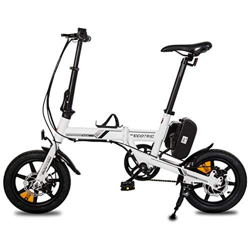 ECOTRIC 14 inch Portable Electric City Bike Aluminum Folding Frame 36V/8AH Lithium Battery 250W Motor Teen Adult