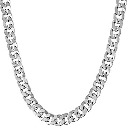 LIFETIME JEWELRY 6mm Cuban Link Chain Necklace 24k Gold Plated for Men and Women (White Gold, 22)
