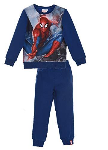 Marvel Spider-Man Jungen Jogginganzug Sweatshirt Hose, 2-teilig, blau (128 cm)