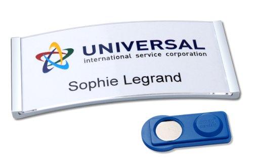 badgepoint polar35-Set, Edelstahl-Optik (20 Namensschilder magnetisch, inkl. 5x A4-Druckbogen für 80 Namenskarten, 80x34mm, selbstbeschriftbar) verrutschsicher, Magnet-Namensschild für Kleidung
