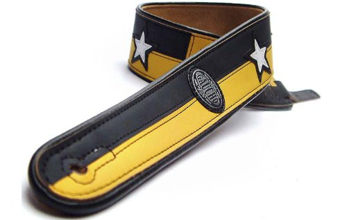 Cheap Gaucho Black/Yellow Two Tone Series Faux Leather Guitar Strap For Electric/Acoustic/Bass Guitar Black Friday & Cyber Monday 2019