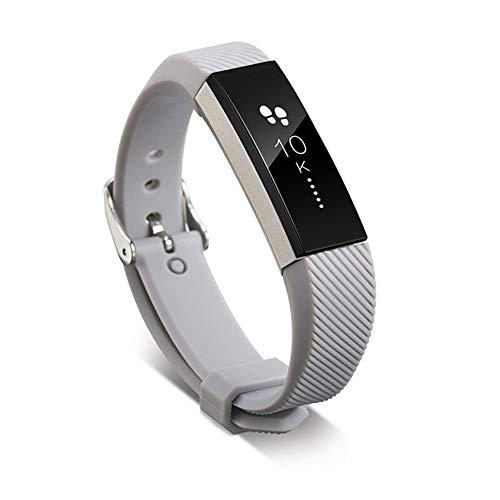 QWERBAM 11 Colores Correa De Silicona Banda Reloj De Reemplazo De La Correa De Silicona De Corchete por Fitbit Alta HR Inteligente Reloj De Pulsera For Smart Watch (Color : Gray)
