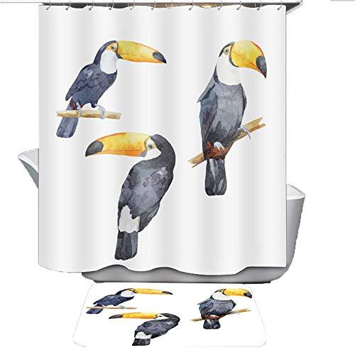 Kerst Vogelgroep Patroon Gedrukt Waterdichte Partitie Douchegordijn, IKEA Stijl
