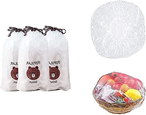 MHCY Bolsa de plástico hermética, Tapa elástica retráctil para Alimentos, Tapa de Bol Ajustable, Tapa de Cocina Universal, como se Muestra en la Figura/Tres Paquetes de 300