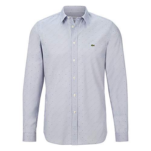 Lacoste Herren CH7684 Oberhemd Langarm, Männer Hemd,Gemustert, Slim Fit,Navy Blue/Multico(QRN),38 EU (38)