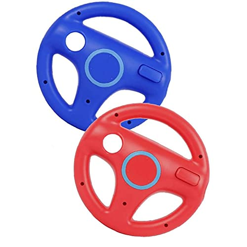 Eaarliyam Racing Rueda Race Sillas de Juego Volante Wii Controller Game Rueda Compatible con Wii Remote Game Red Blue 2pcs