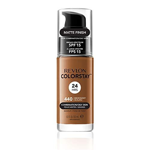 Revlon Colorstay 24H, Base de maquillaje para rostro, para cutis mixto/graso, con dosificador, color Beige (440 Mahogany), 30ml