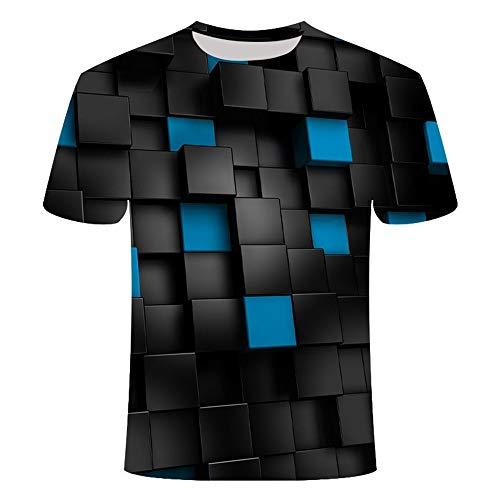 GHRFZC - Camisetas unisex de manga corta con impresión 3D, unisex, para hombres y mujeres, diseño abstracto de geometría negra cuadrada, cuello redondo., large