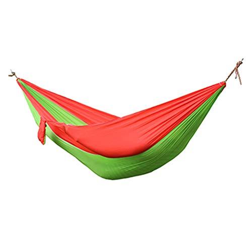 RWEAONT Una Sola Hamaca Doble Adulta Mochila al Aire Libre de la Supervivencia de la Caza de la Caza de la Caza de la Caza portátil con 2 Correas 2 Carabiner (Color : Green Red)