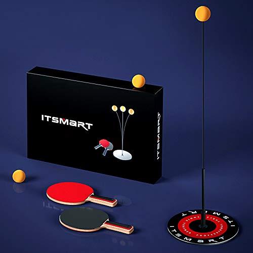 Prtukyt Tischtennis-Trainingsgerät Professioneller Pingpong Schläger mit elastischem weichem Schaft und Stab 110CM Entspannungsübung Set von 2 Schläger und 3 Pingpongs für Innenraum und im Freien