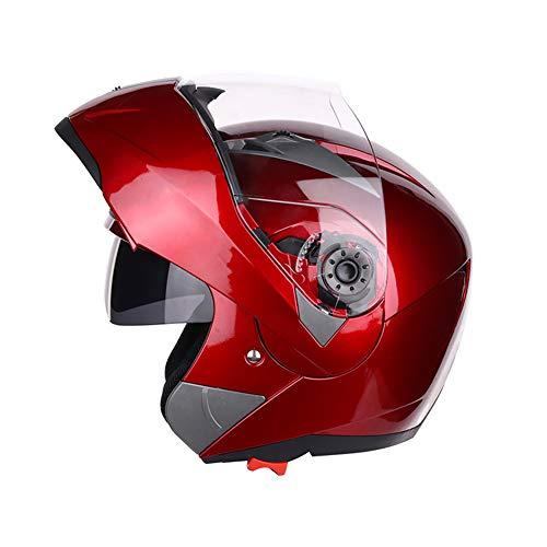 Folconauto Motorrad-Rollerhelm, Geprüfter Vollgesichts-Motorradhelm Crash Chopper mit Sonnenblende -Rot (L)