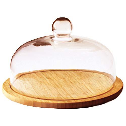 Point-Virgule Käseglocke aus Glas mit Bambus Teller, Servierplatte fur Käse, ø 30cm