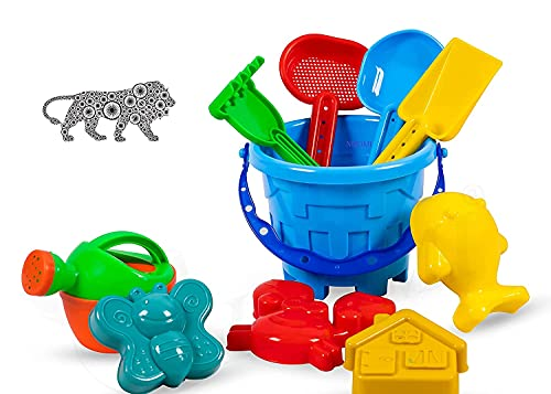 Garden Toy Beach Toys Set for Kids Indian Made 10 PIS Comfort Material Sandpit Bucket Animal Mould Beach Shovel Spade Etc Best Birthday Gift Development Learning Toys (Random Color Send)