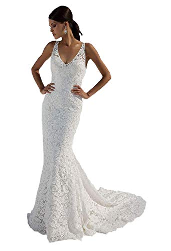 Women's Double V Neck Floral Lace Ivory Mermaid Wedding Dresses Long for Bride 2021 Open Back Bridal Gown One Size (Apparel)