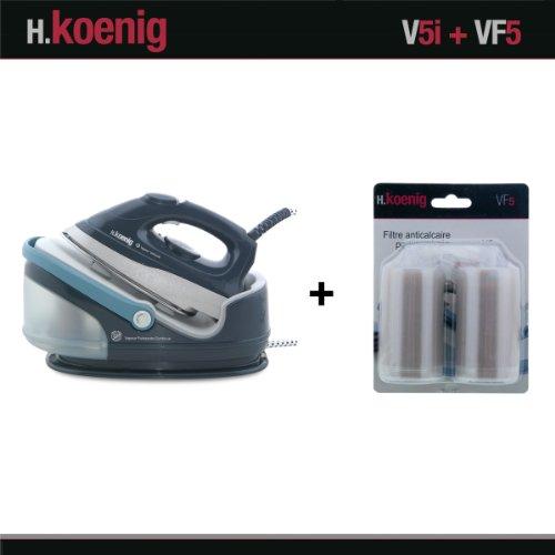 H.Koenig V5i Centrale Vapeur 2400W et VF5 Filtres anti calcaire pour centrale vapeu...
