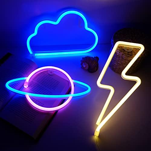 NELUX Pack de 3 Planeta, Rayo y Nube - Luces de Neón LED para Pared de Dormitorio o Bar, Cartel Luminoso para Decorar Habitación de Adolescentes, Fiestas o Navidad. Conexión USB o 3 Pilas AA.