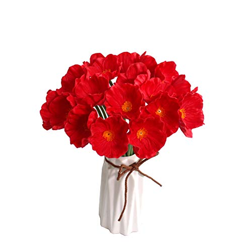 """Mandy's 10pcs Red Artificial Poppy Flower 12.5"""" for Wedding Home & Kitchen PU"""