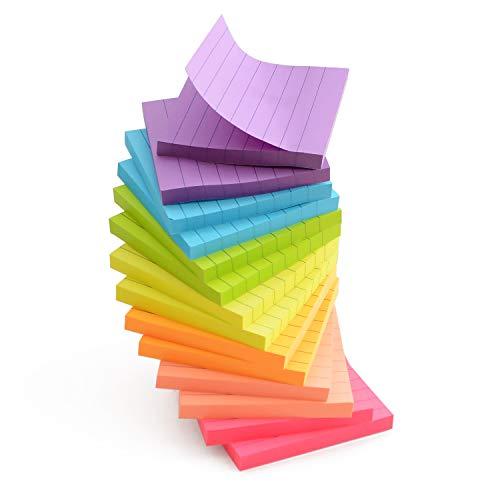 付箋 (ふせん) ブロックメモ タイプ 【 メモ を手軽に 大容量1120枚セット! (7色の 可愛いふせん) 1パッド80枚で各色2パッドのセットです 】 ふせんノート 付箋紙 かわいい 付箋セット (75x75mm 正方形タイプ) 線ふせん ノートふせ