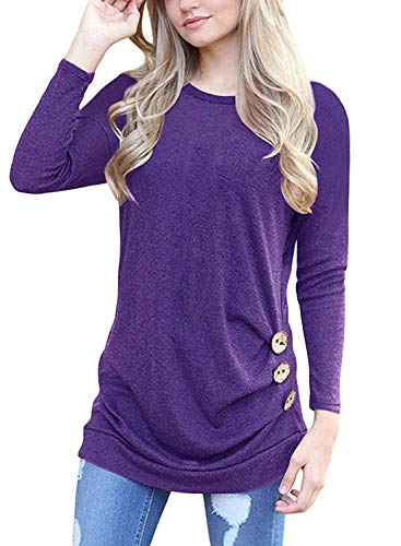 I2CRAZY Womens Sweaters Casual Long Sleeve Tunic Button Blouses Shirt Tops - XL, Purple