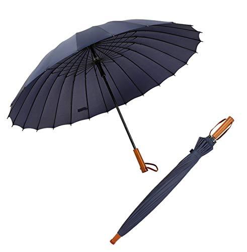 Parapluie de golf avec 24 baleines en fibre de verre coupe-vent et imperméable - Manche en bois long droit - 132,1 cm - Grand parapluie manuel, bleu marine (Bleu) - G-UK2019060503