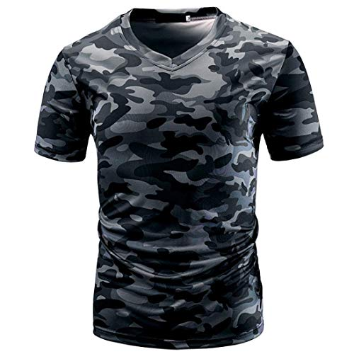 Tank Top Spier Korte T Festival Top Shirt Blouse Mode Tank Eenvoud Camouflage Casual Heren Camouflage Print V-hals Pullover Ufig Slanke Korte mouw Shirt Top Blouse van