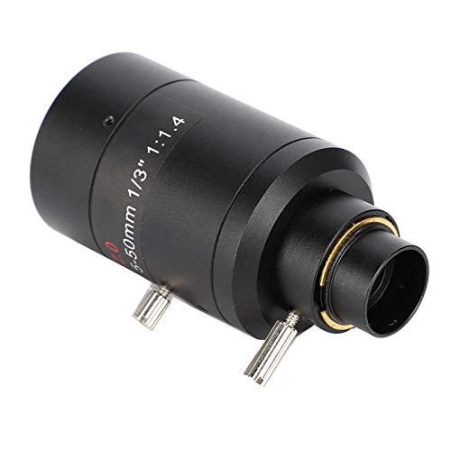 SALUTUYA Camcorder-Objektiv mit Einer Brennweite von 5 bis 50 mm für Überwachungsüberwachungskameras, Anpassung an die meisten Überwachungskameras mit hohem Zoom