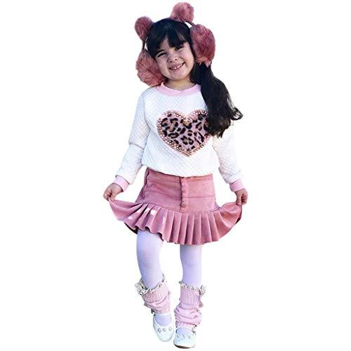 2er Baby Mädchen Frühling Rose Prinzessin Kleid Langarm Leopardmuster Heart Paillette Pullover Shirt Tops Falten Mini Rock Faltenrock Einfarbige für 0-4 Jahre Outfits Set Baumwolle Kleidung Set