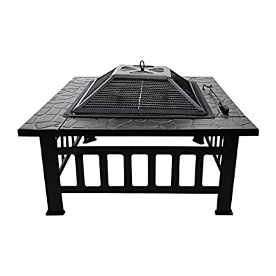 """3 in 1 Multifunctional Fire Pit, 32"""" Portable Fire Pit Bowl for Wood and Charcoal Burning, Square Bonfire Stove with Dust cover, BBQ Grill and Grilled Fire Fork, for Outdoor Cooking and Camping from Houssem"""