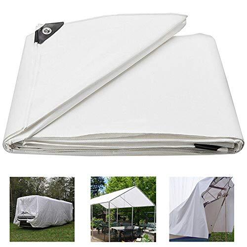 JTYX Tarpaulin White [160 G/m2] Tarpaulin Waterproof with Eyelets for Garden Furniture, Pool, Car, Truck, Waterproof and Tear-resistant Heavy Duty Tarp Sheet Cover