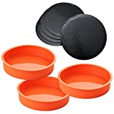 A Baker and Cook 3 Piece Round Silicone 7 ¼ Inch Cake Mold Baking Pan Set, Includes 5 Laminated Greaseproof Cardboard Cake Circles( 7.25