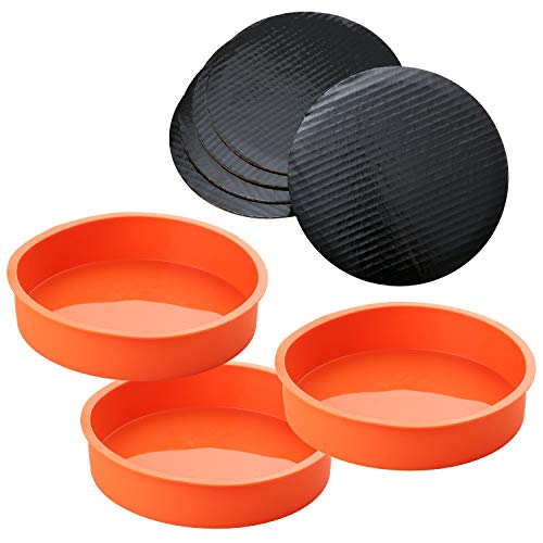 A Baker and Cook 3 Piece Round Silicone 7 ¼ Inch Cake Mold Baking Pan Set, Includes 5 Laminated Greaseproof Cardboard Cake Circles( 7.25' x 1.5', Orange)