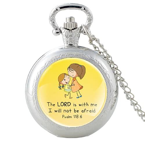 Reloj de bolsillo de cuarzo vintage con texto en inglés 'El Señor es con Me', con colgante de reloj de pulsera para hombre