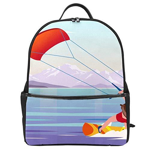Mochila de lona con diseño de Kitesurfer de dibujos animados para la playa y la montaña, mochila de viaje informal para niños, niñas, niños y estudiantes