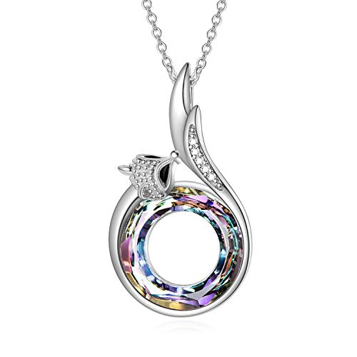 AOBOCO Fox Necklace Sterling Silver Women Necklace Fox Tail Pendant with Circle Crystals from Austria, Fine Anniversary Birthday Fox Jewelry Gifts for Women Daughter Girlfriend Wife Mom Niece(Purple)