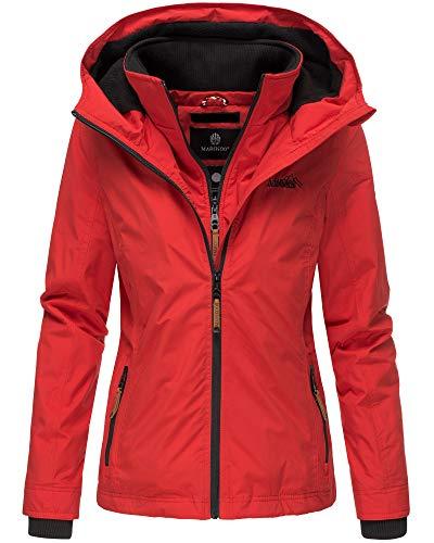 Marikoo Damen Regen Jacke Outdoor Regenjacke Winterjacke Fleece Gefüttert Kapuze XS - XXL Erdbeere (XS, Rot)