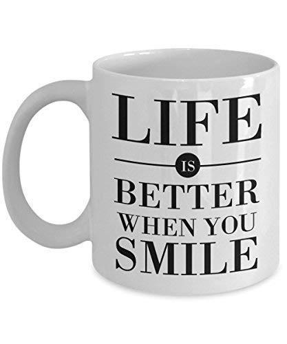 Het leven is beter als je lacht mok, 11 oz keramische witte koffie mokken, beste nieuwigheid geschenken vleugel inspirerende citaten, theekop met geweldige motiverende gezegden, inspirerende geschenken, perfecte drank
